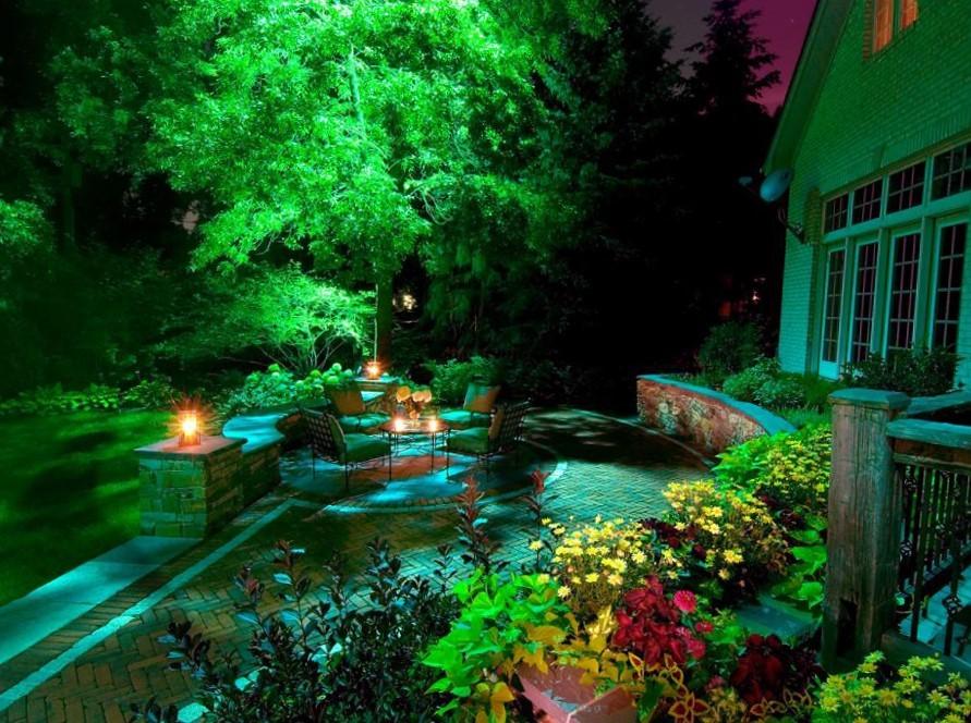 изображение подсветки пруда и водоема