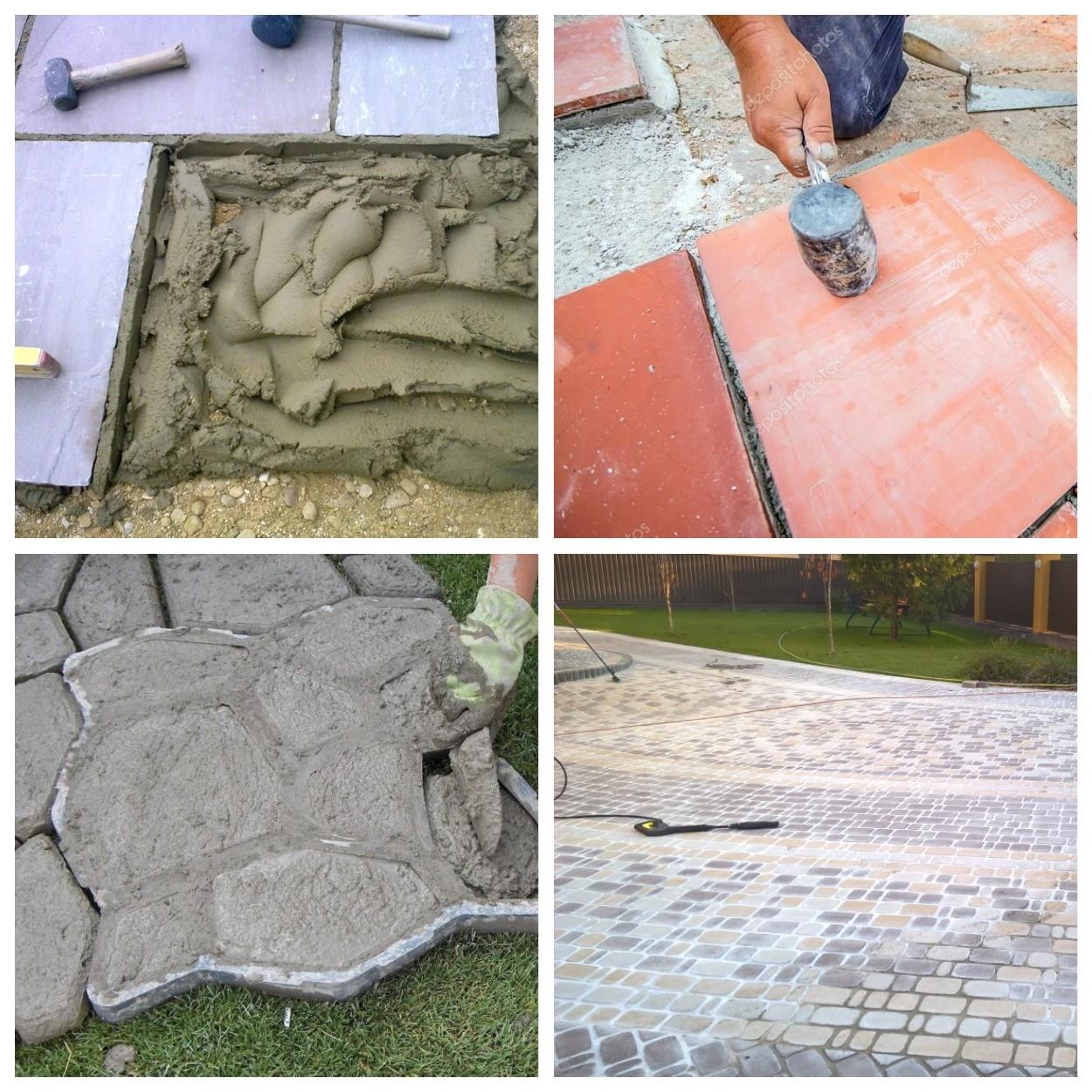 изображение цемента на тротуарной плитке