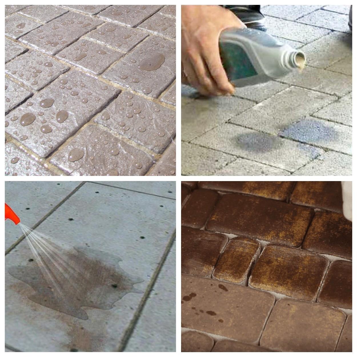 изображение следов лака и растворителя на тротуарной плитке