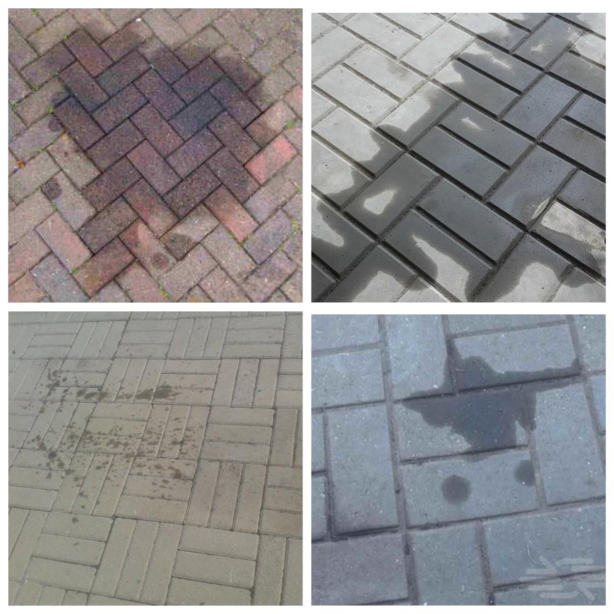 изображение масла, антифриза, жирных пятен на тротуарной плитке