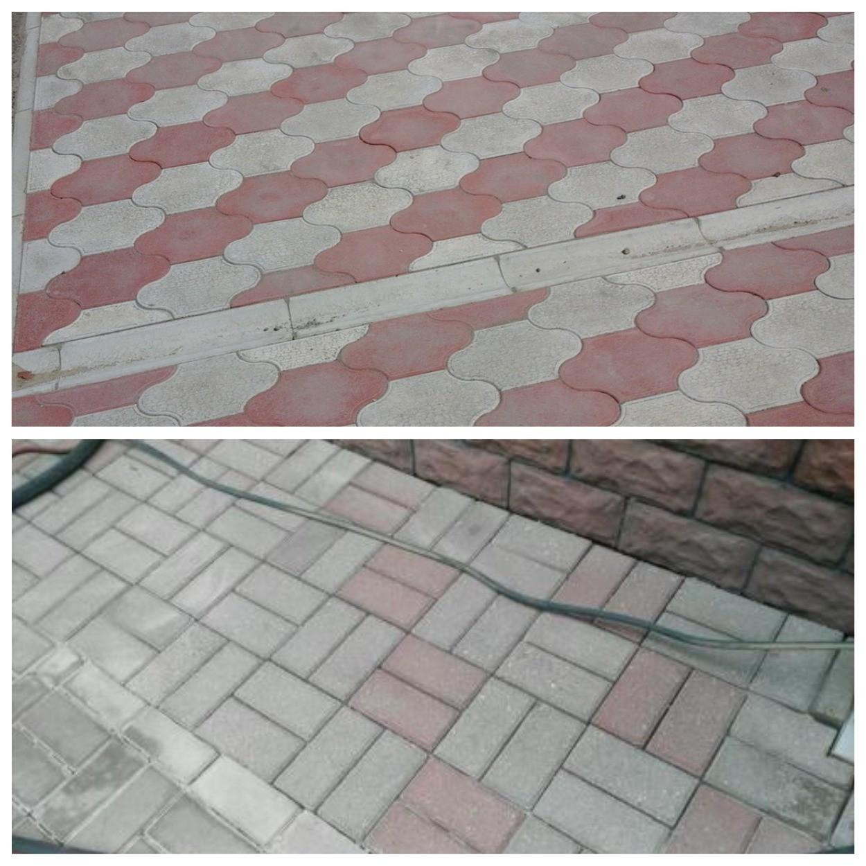 изображение потускневшей тротуарной плитки и очистка плитки от потускнения