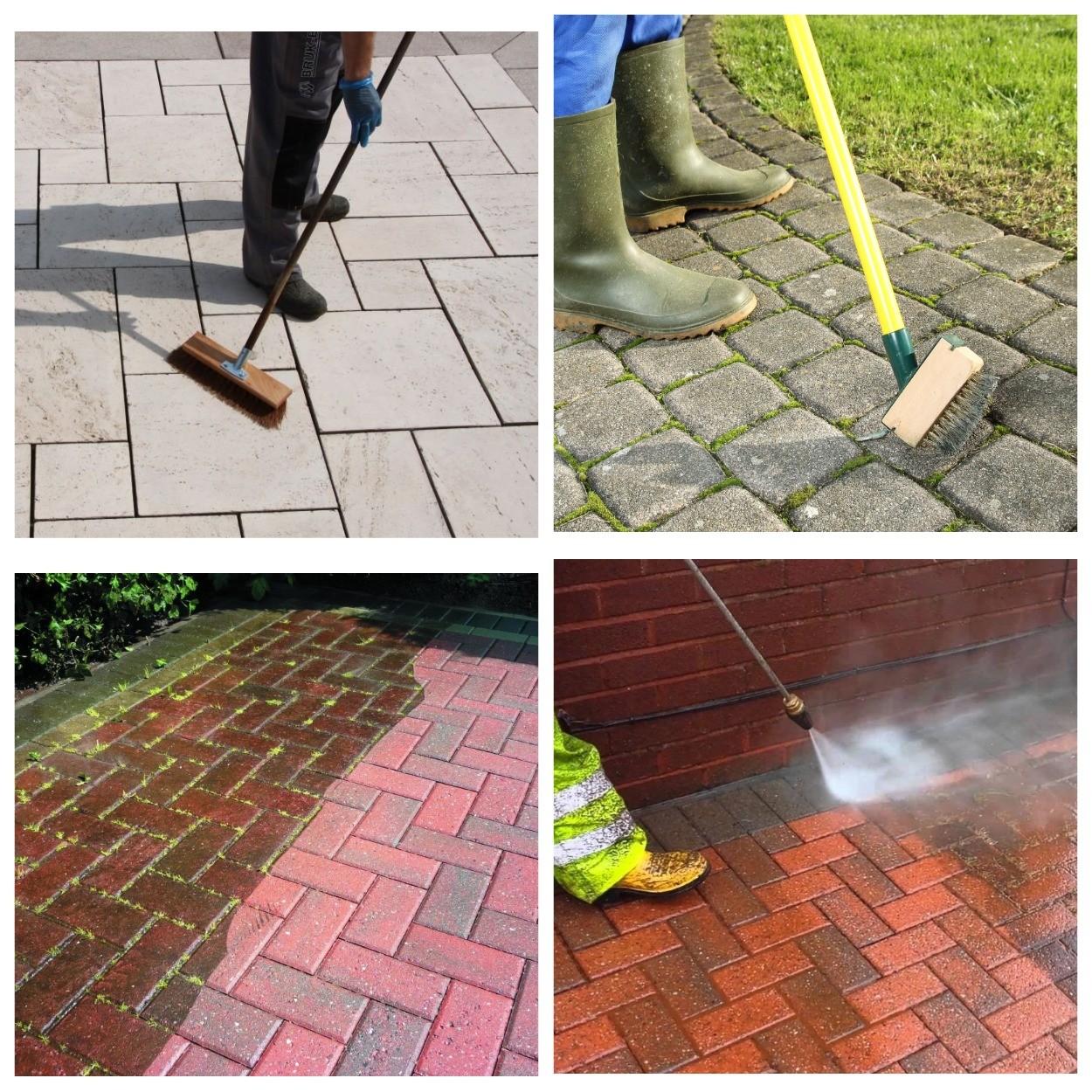 изображение очистки плитки от грязи и регулярного ухода за тротуарной плиткой