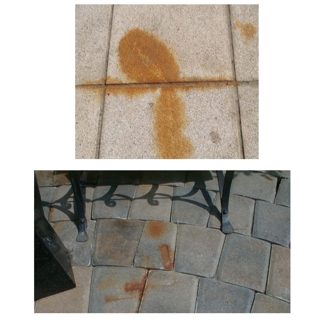 изображение следов ржавчины на тротуарной плитке