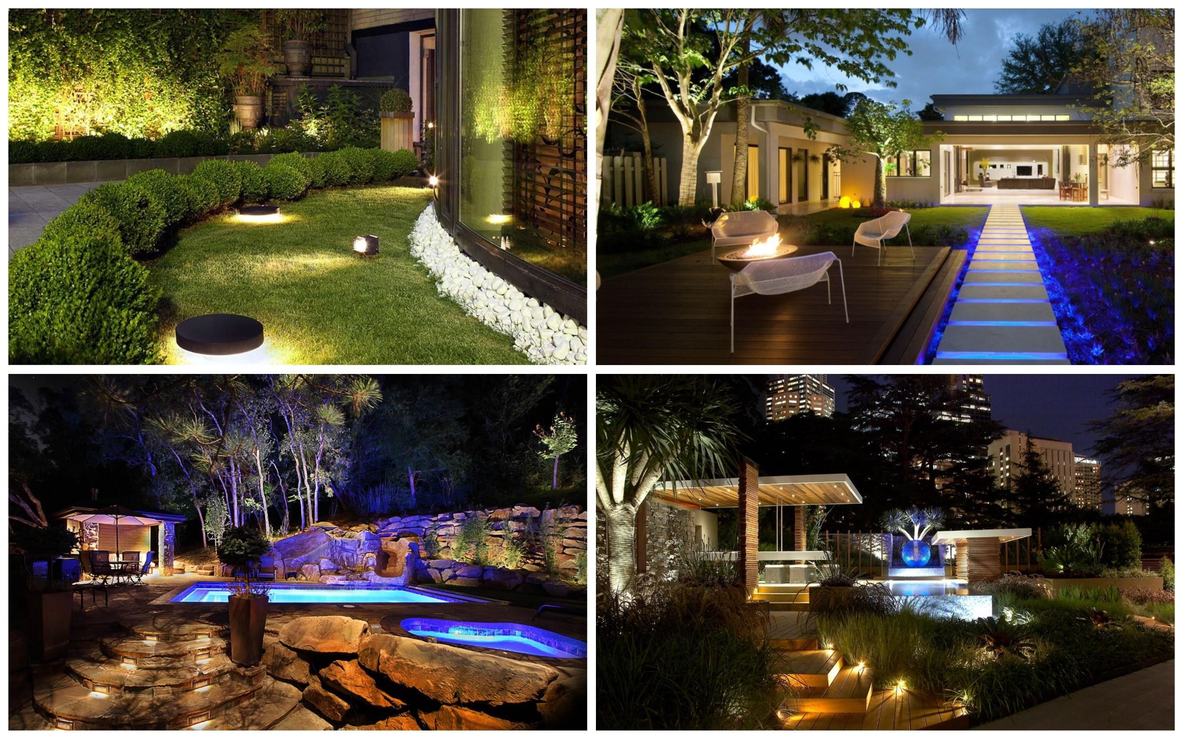 изображение освещения участка сада