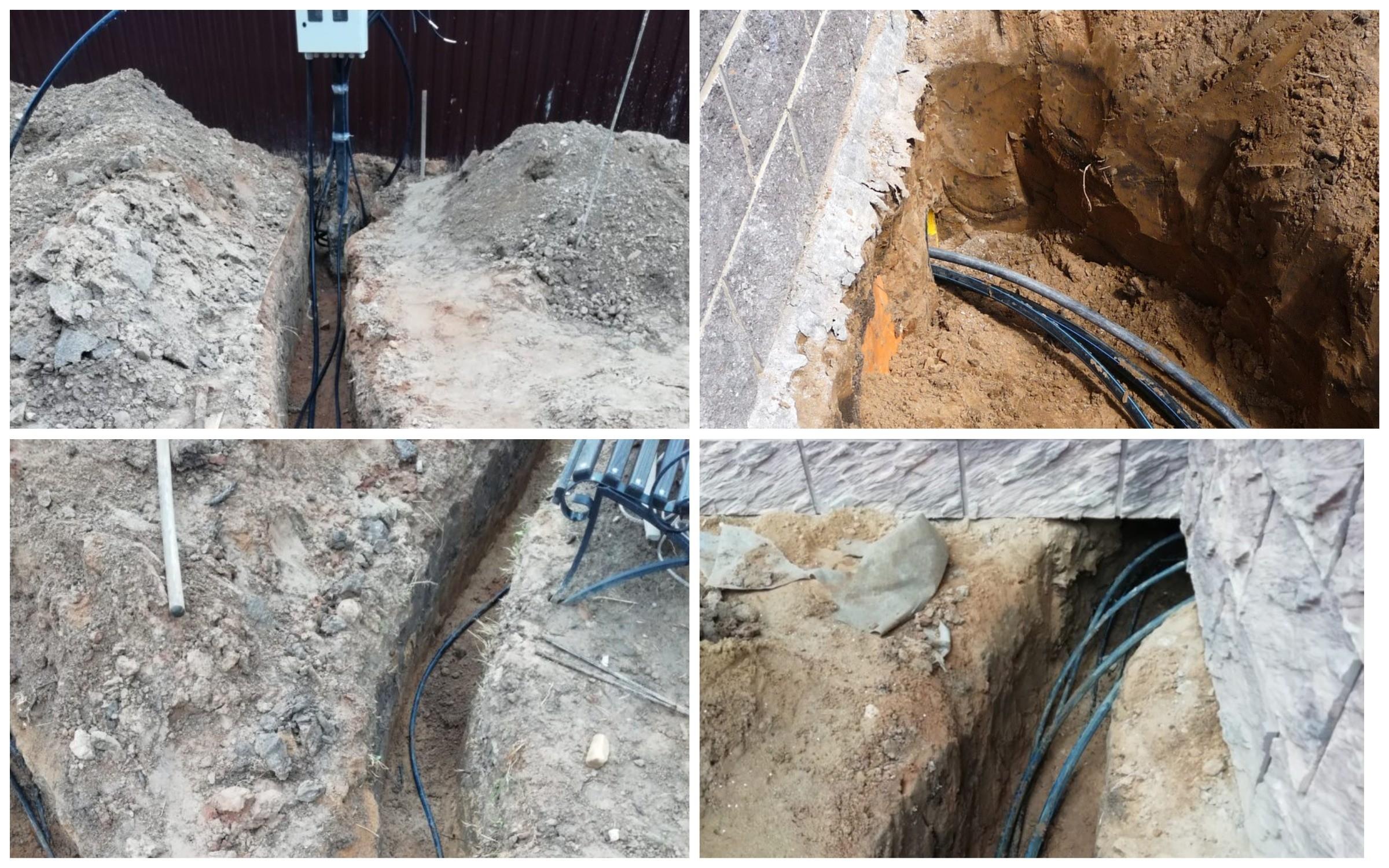 изображение закрытой прокладки кабеля на улице для освещения участка сада
