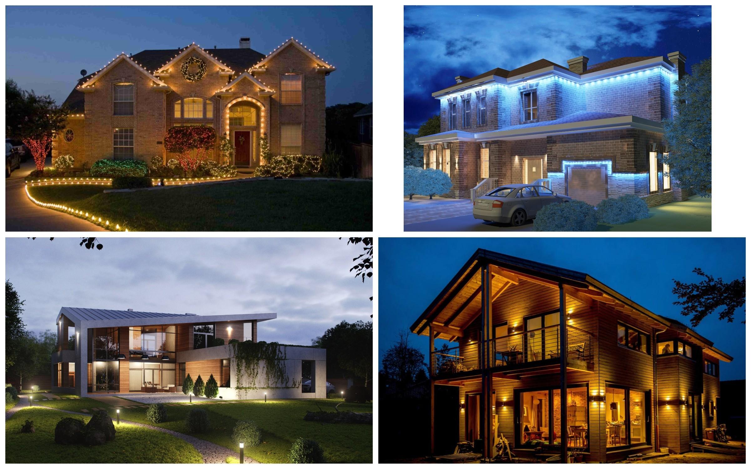 изображение освещения участка и экстерьера дома
