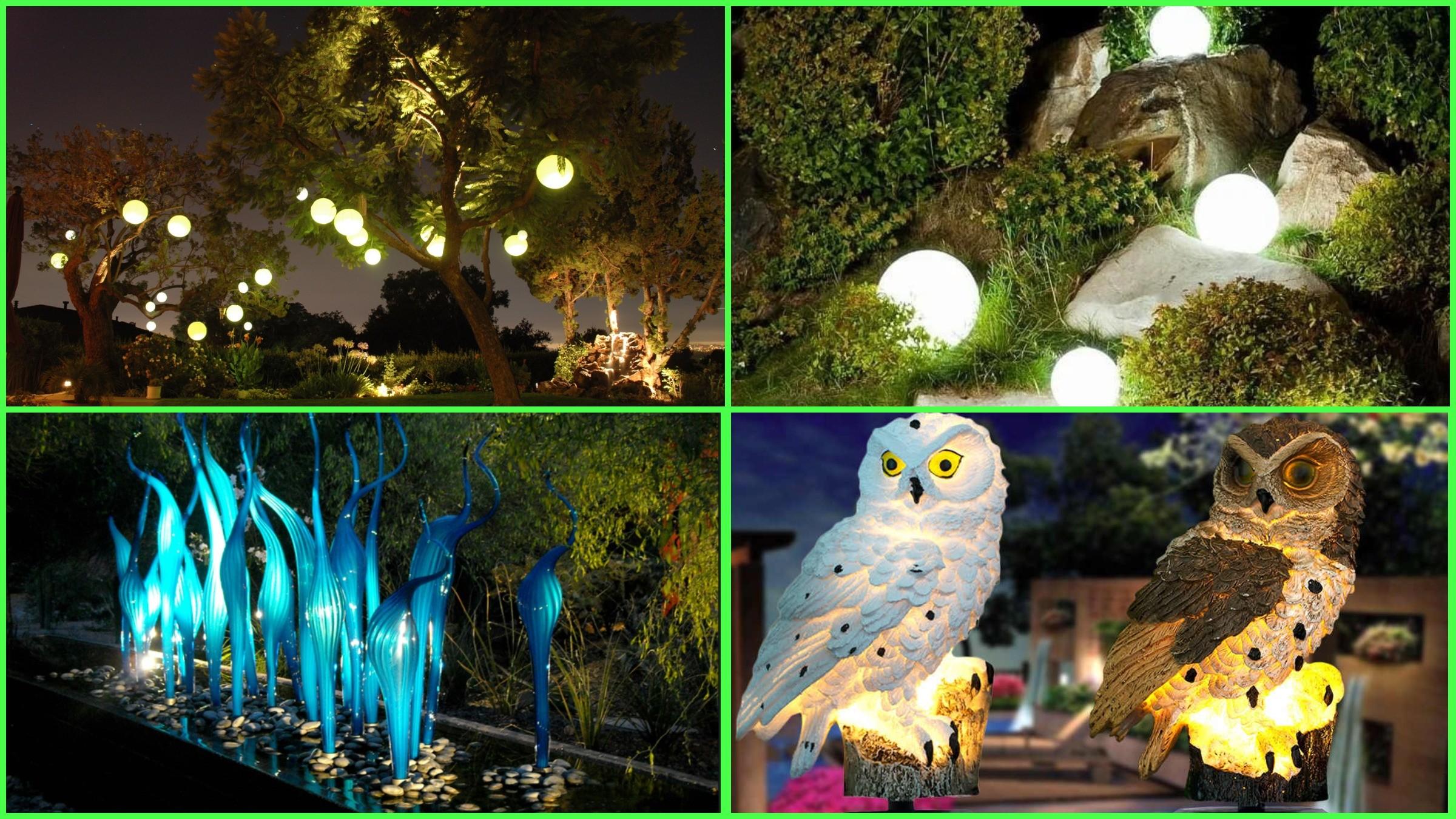изображение уличных светильников и подсветки скульптур