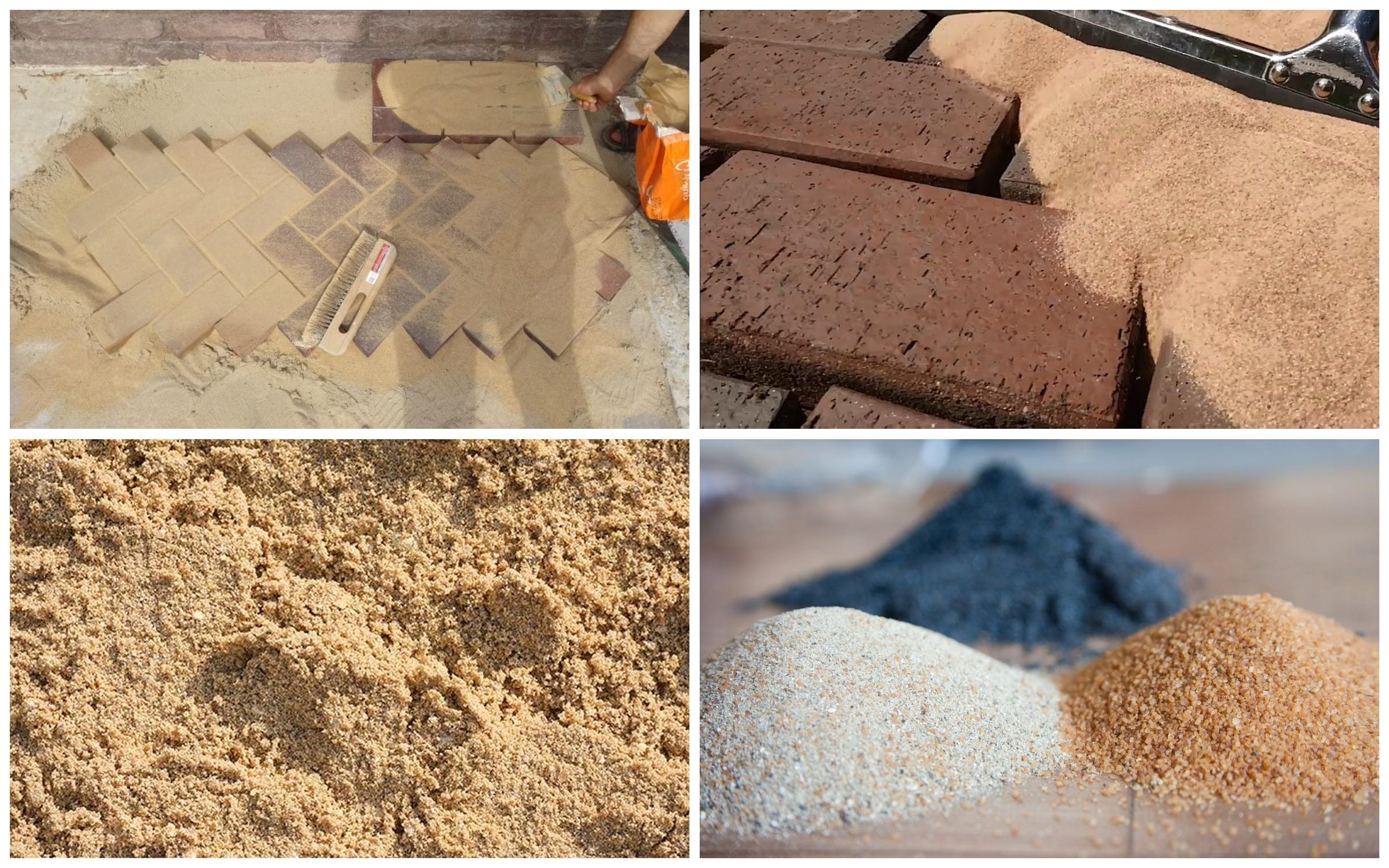 изображение использования песка для просыпки швов тротуарной плитки