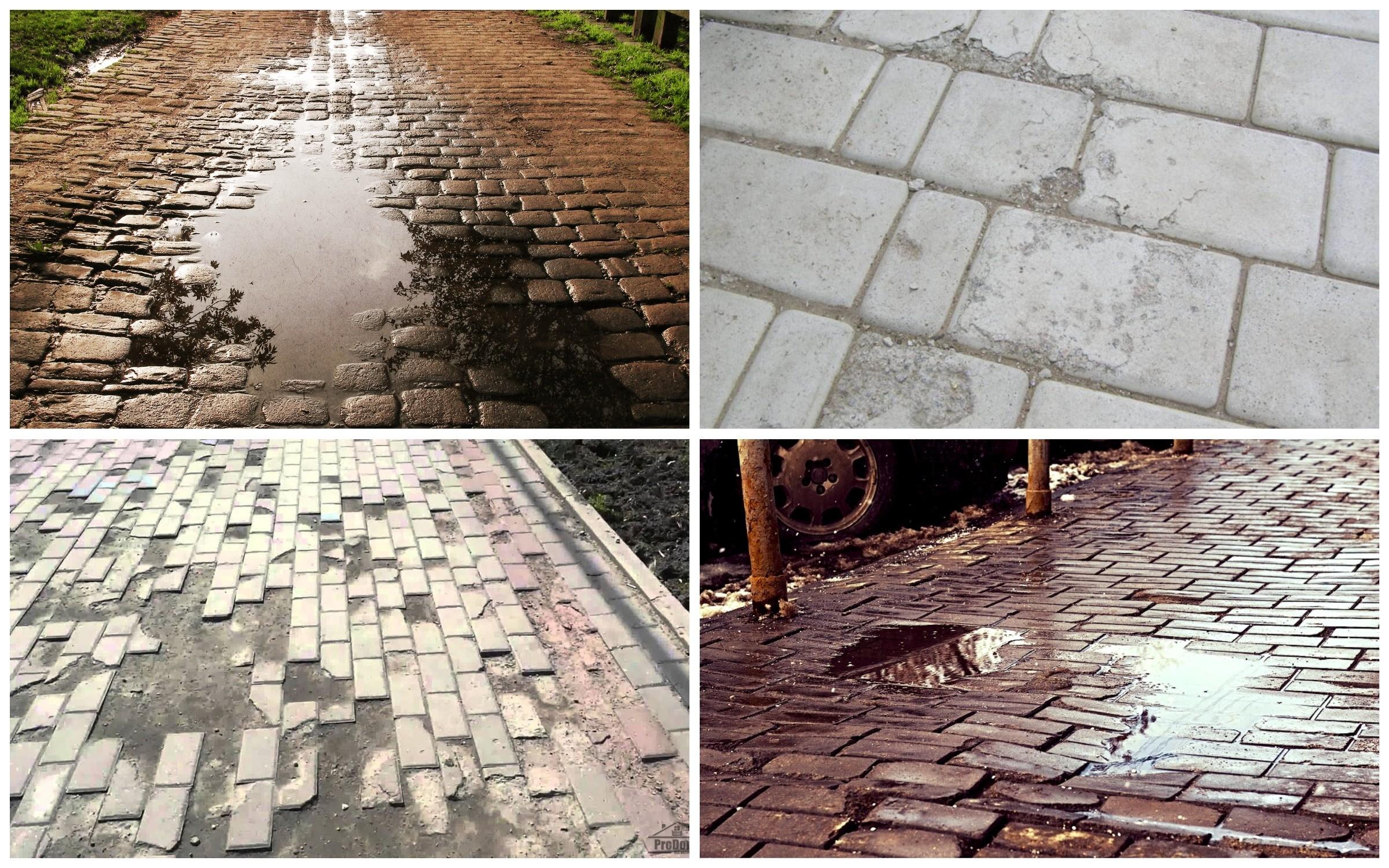 изображение разрушения от воды тротуарной плитки