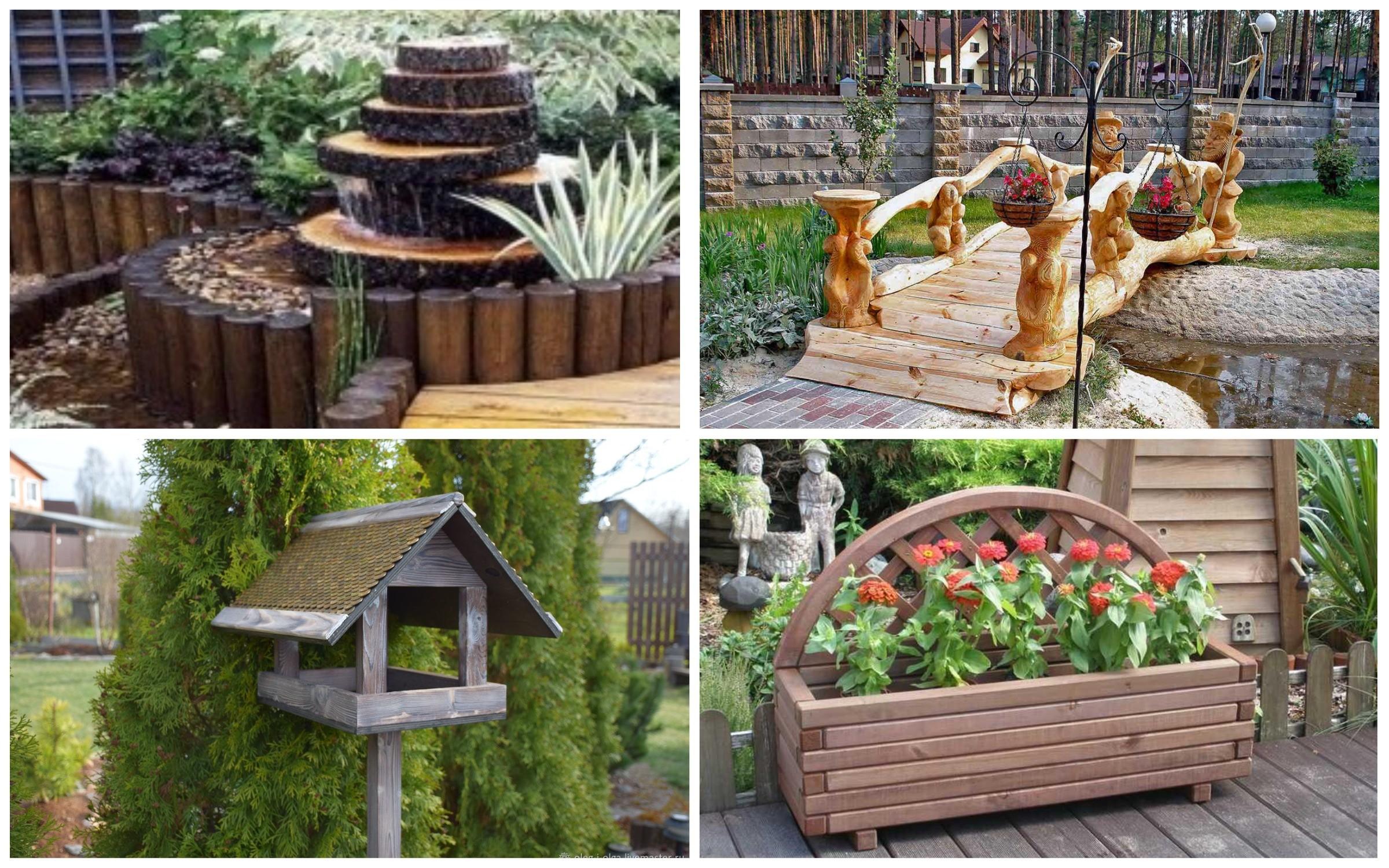 изображение деревянных скульптур в саду
