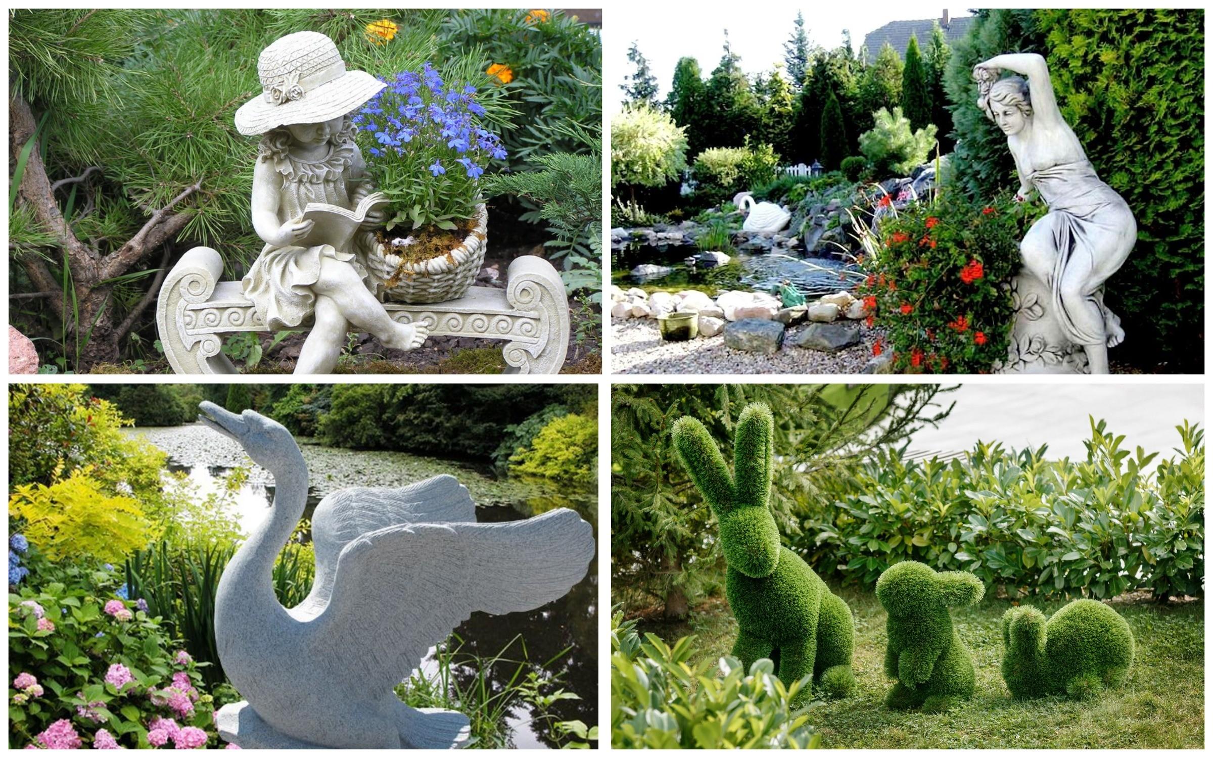 изображение скульптур в саду