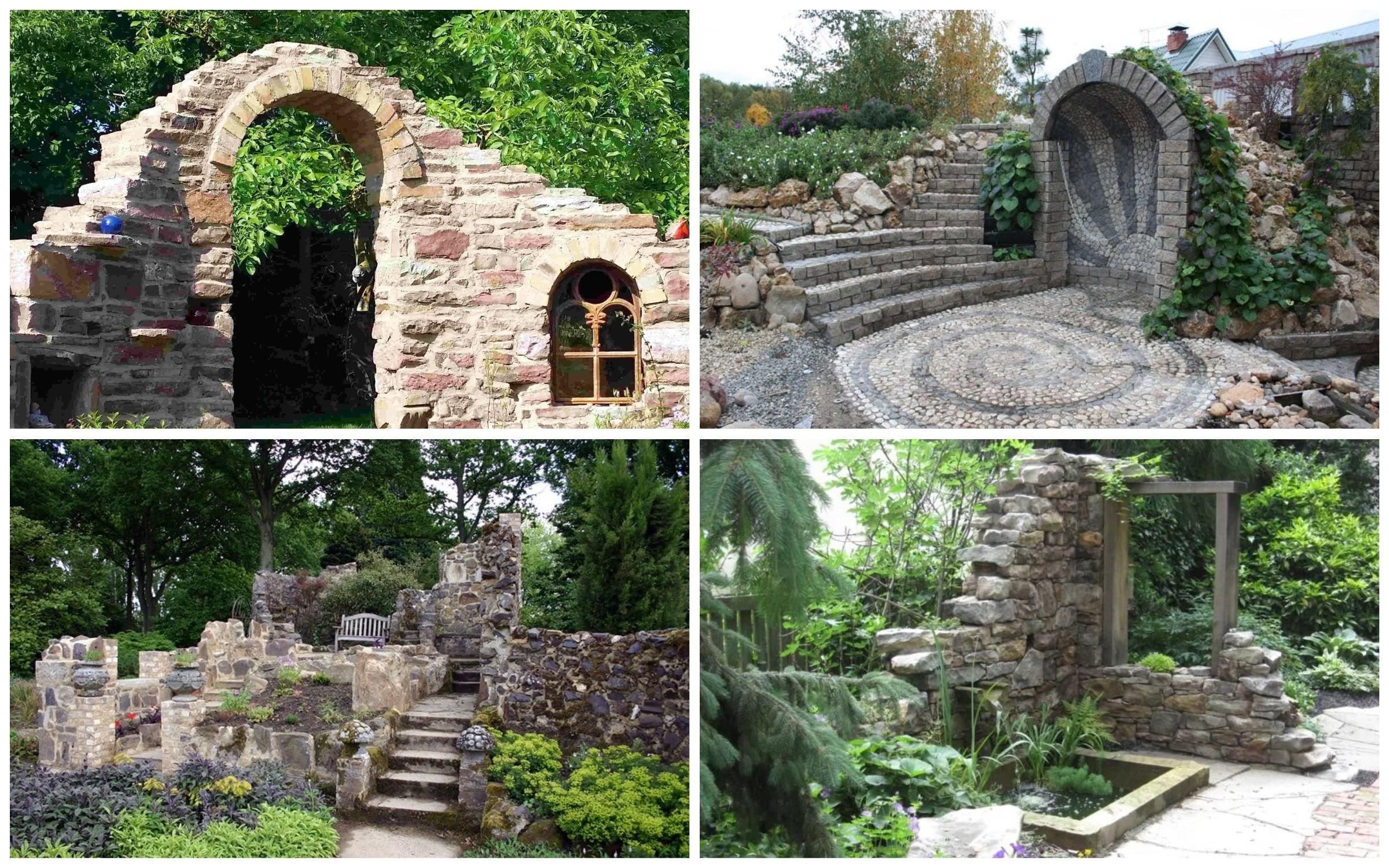 изображение развалин из камней в саду