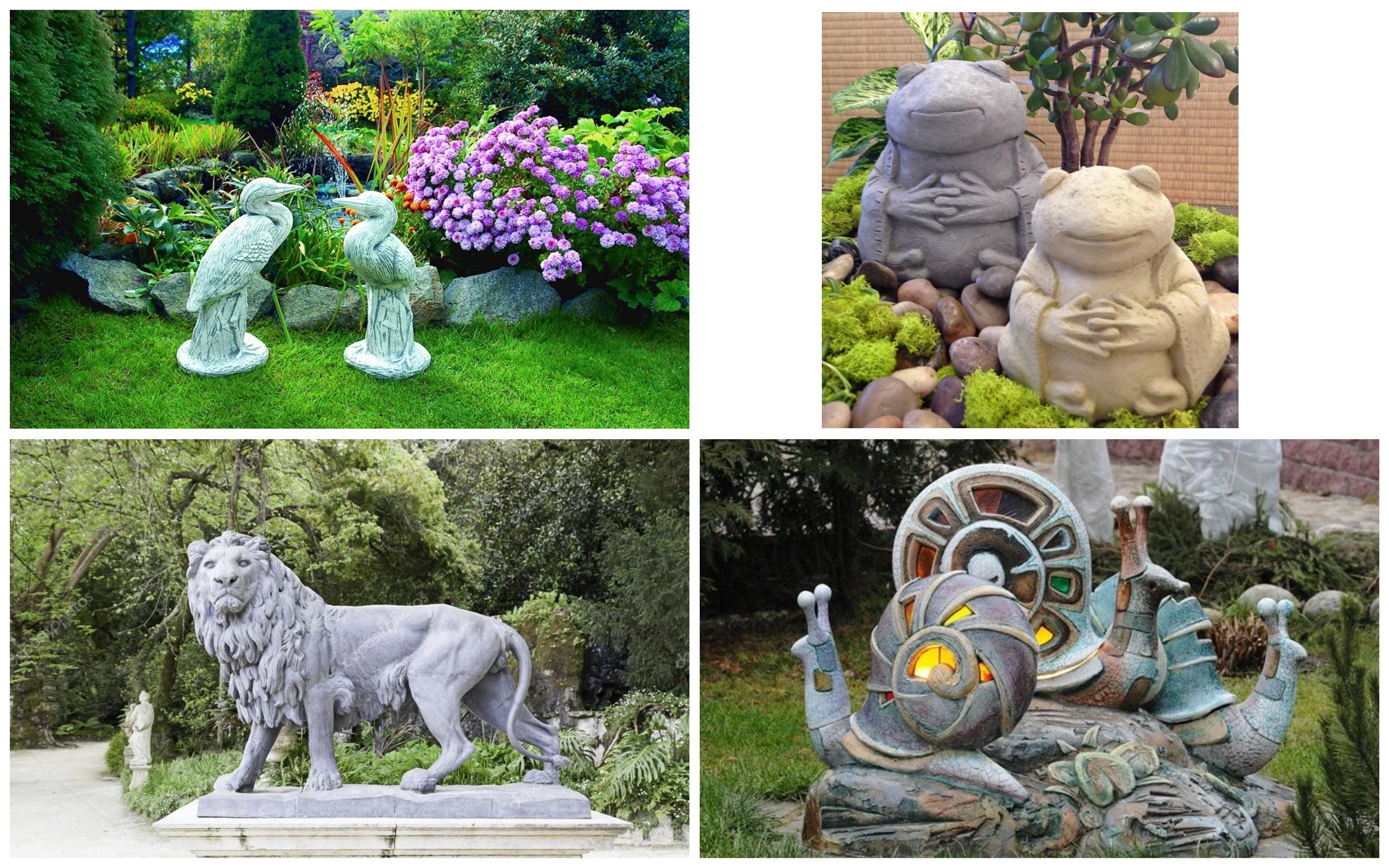 изображение каменных скульптур в саду