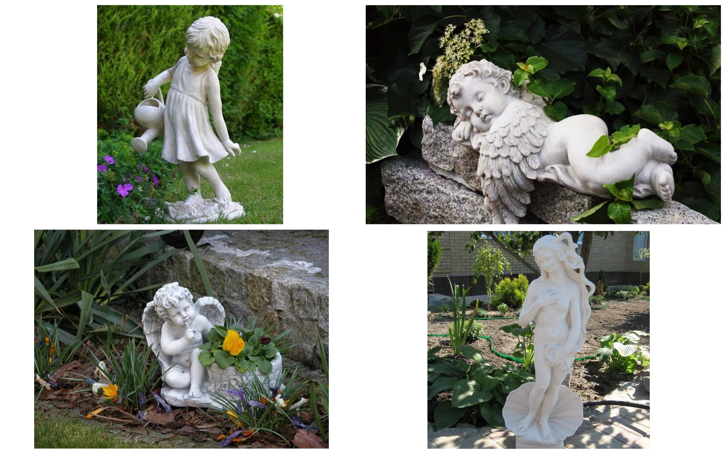 изображение статуй из гипса в саду