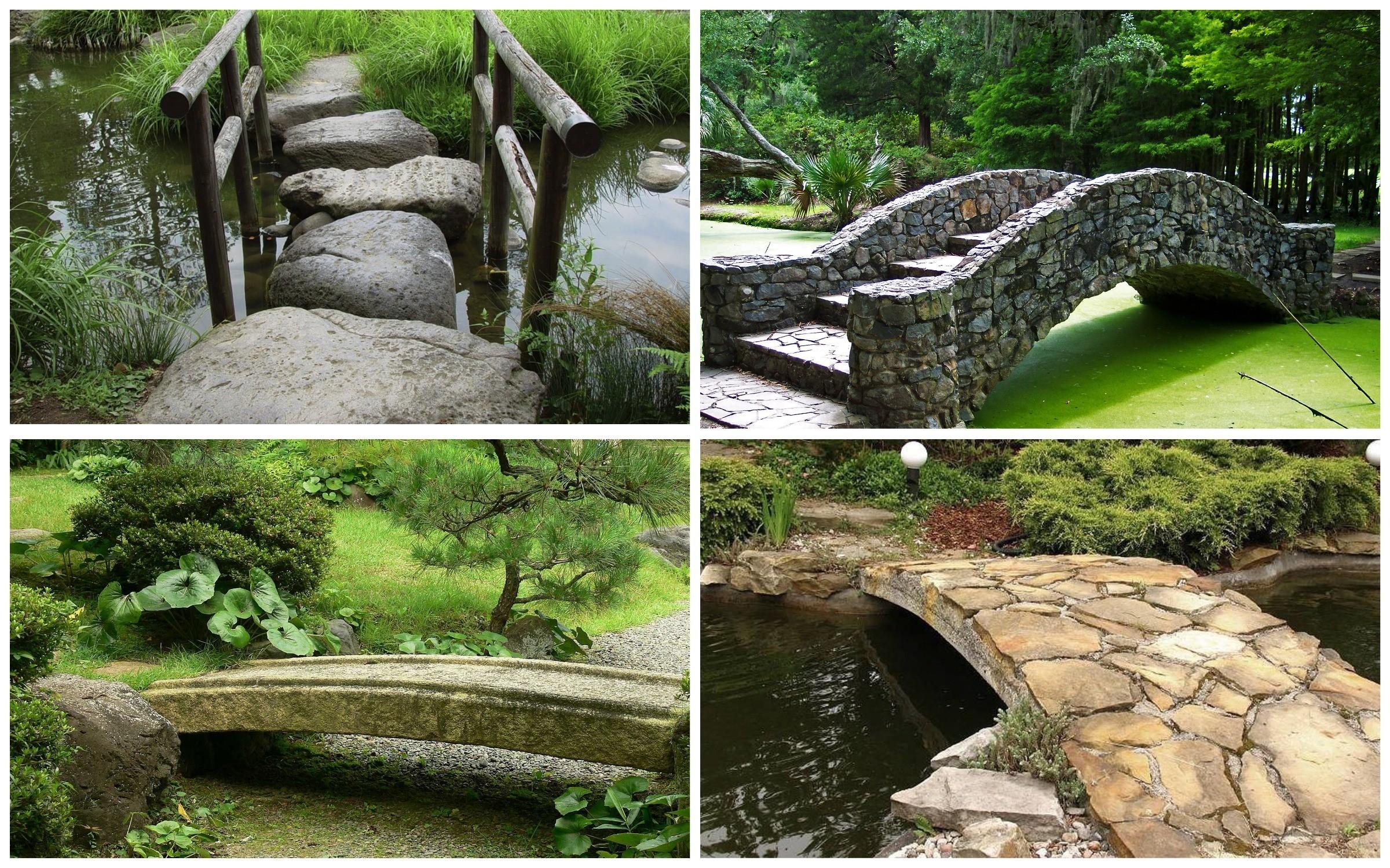 изображение каменного моста в саду