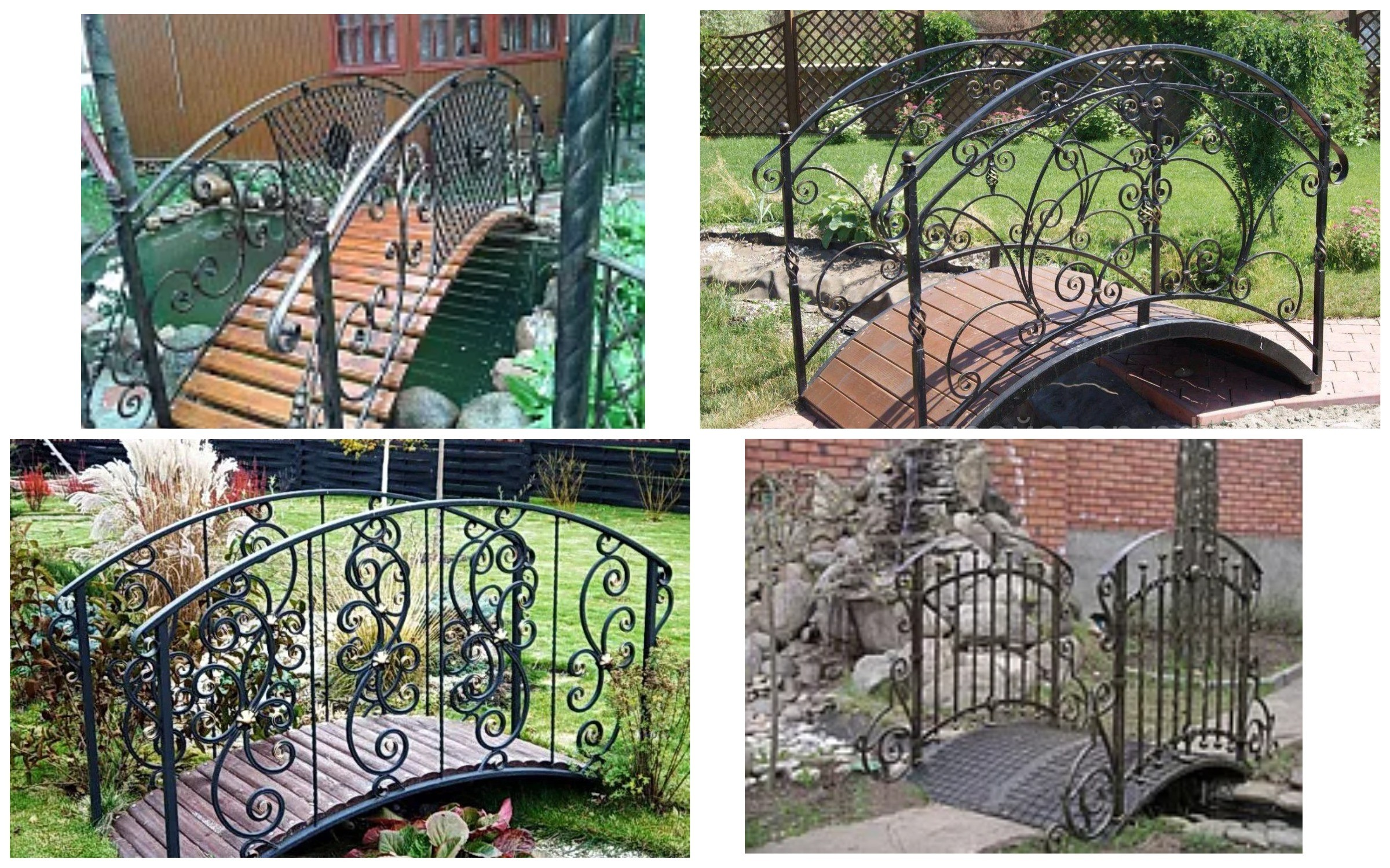 изображение кованного мостика в саду