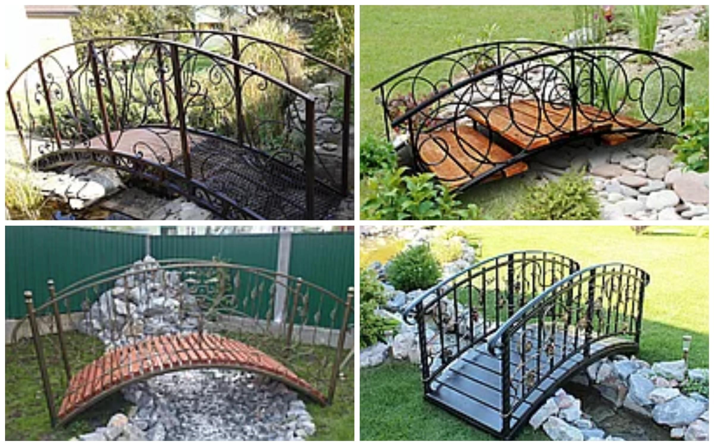 изображение металлического моста в саду