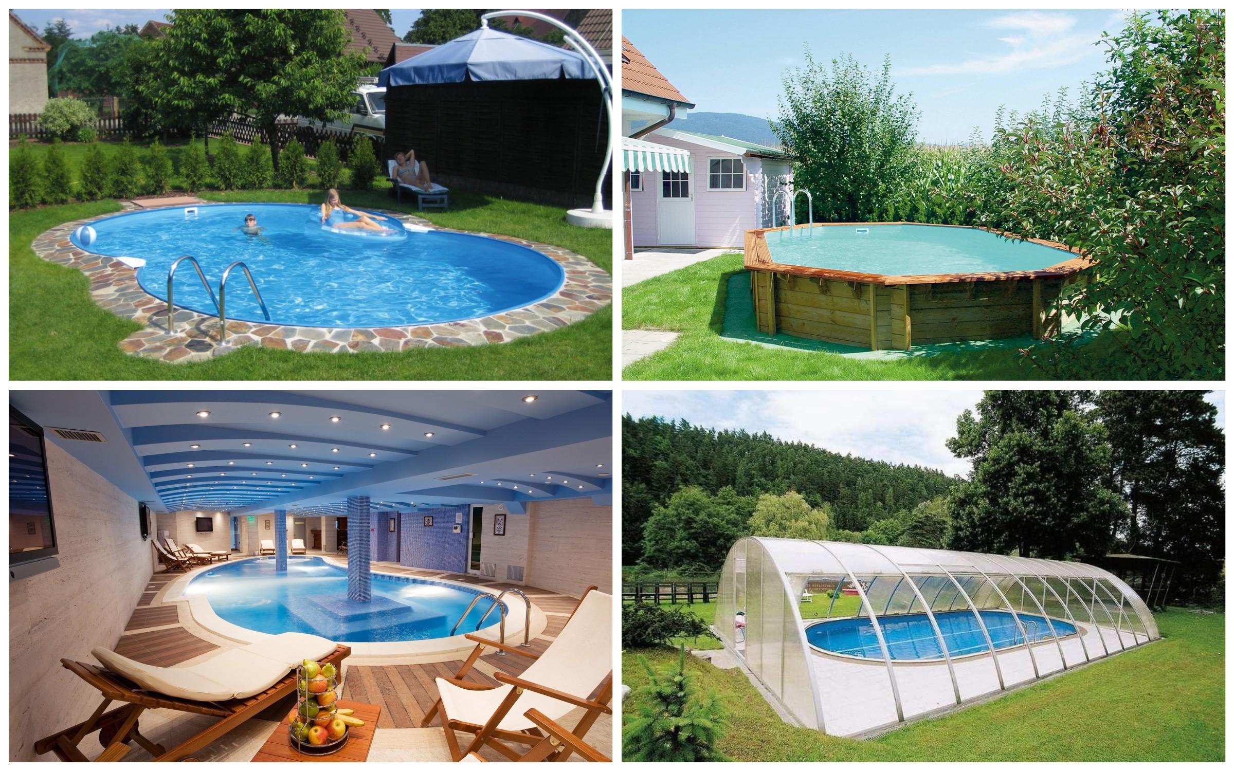 изображение с различными вариантами бассейнов на даче