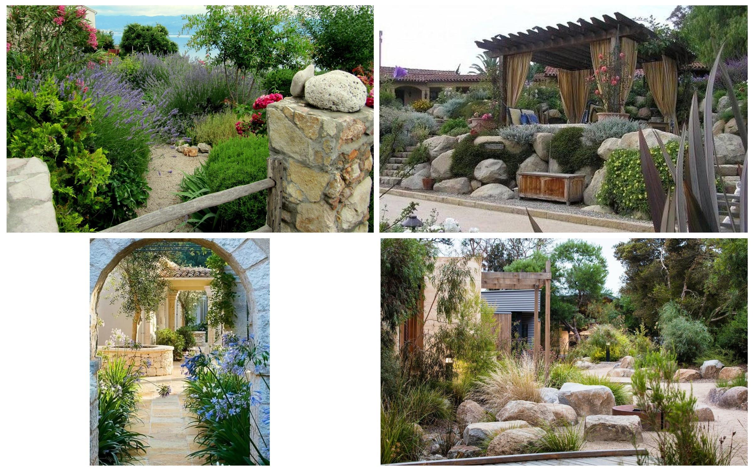 фото присутствия камней в средиземноморском стиле сада